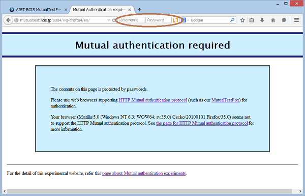 Figure 2: HTTP Mutual Access Authentication is required.